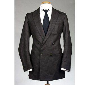 Vtg Alexandre Custom Brown Pinstripe Wool Blazer